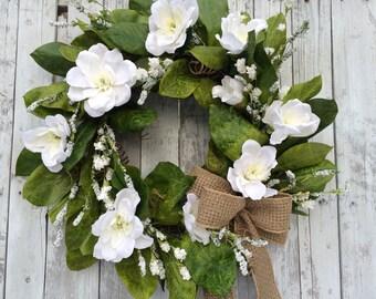 Magnolia Wreath, Burlap Wreath, Magnolia Wreath, Wedding Wreath, Artificial White Magnolia Wreaths