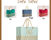 Personalized Jute Tote Bags - Monogrammed