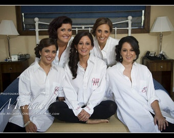 Monogrammed Bridal Party Oversized Shirts - Monogram Only