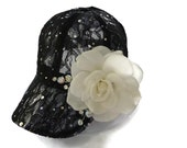 Women's Baseball Hat, Golf Visor Hat, Mother's Day Golf Gift, Baseball Cap in Black Lace - RESERVED for BETH
