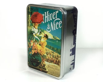 Colorful Vintage Inspired French Travel-Themed Tin, L'Hiver a Nice, French Storage Tin