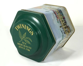 Vintage Twinings Tea Tin,  Six sided Storage Tin, Covent Garden circa 1840