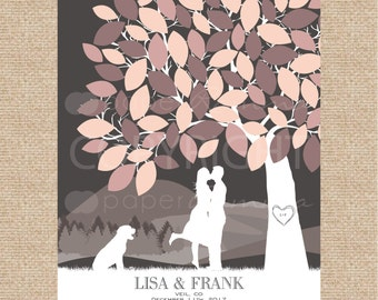 Rustic Wedding Guestbook, Unique Wedding Guest Book, Custom Wedding Guestbook, Canvas Guestbook Idea, Wedding Tree Print / W-T05-1PS HH3 03P