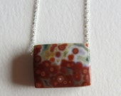 Rectangular Orange Ocean Jasper Necklace Handmade in Seattle