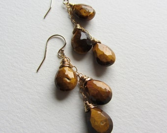 Triple Dangle Tiger Eye Earrings Gold Filled - Wire Wrapped Jewelry