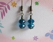 Peacock Blue Glass Earrings, Antiqued Brass Jewelry, Teal Crystal Glass Retro Earrings