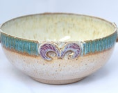 Large Serving Bowl in Chowder Teal and Purple- Ceramic Stoneware Pottery