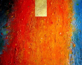 Original ABSTRACT PAINTING metallic gold red acrylic palette knife fine art contemporary cosmic modern art 'Into' by Carol Lee aka Leearte