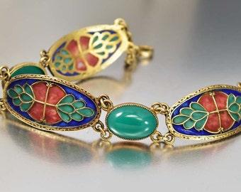 Art Nouveau Bracelet, Plique a Jour Enamel Sterling Silver Bracelet, Jugendstil Jewelry, Chrysoprase Green Stained Glass WMC Antique Jewelry