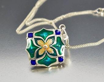Sterling Silver Enamel Locket Necklace, Art Nouveau Style Peacock Feather Green Blue Locket Pendant Necklace, Gold Flower Locket