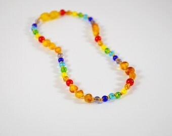 """12"""" Youth Unpolished Baltic Amber and Rainbow Glass bead Necklace"""