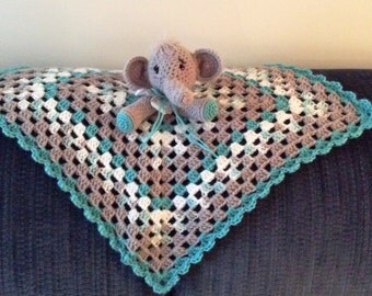 Crochet Grey, Teal and White Elephant Baby Afghan Lovey