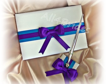 Wedding Guest Book Turquoise and Regency Purple wedding accessories, reception guest book and pen set