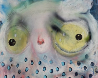 OOAK Original Bush Baby Painting on Claybord