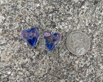 Blue Heart Murano Glass Earrings - 1 Pair