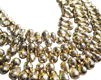 Gold Pyrite Beads Briolettes, Faceted Teardrops, 4mm x 6mm, Fools Gold, SKU 2842