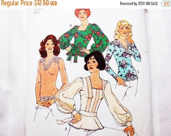 SALE 25% Off 1970s Pattern Womens Boho Tops Long Sleeve, with Sash, Misses 34 Bust, size 12 Vintage Sewing Pattern Simplicity
