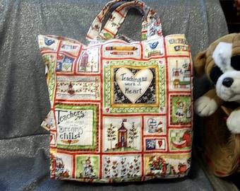 Cotton Shopping Tote Bag, Teaching, Work of Heart Print