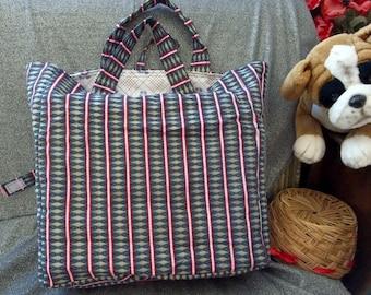 Cotton Shopping Tote Bag, Southwestern Diamond Stripes Print