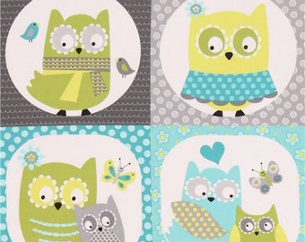 206260 grey lime green white owl square fabric Whooo Loves You