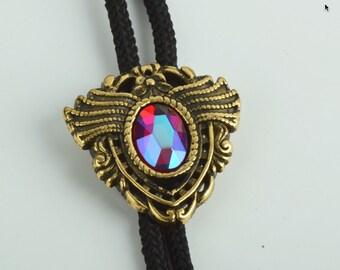 Bolo Tie, ruby glass stone setting  , ea