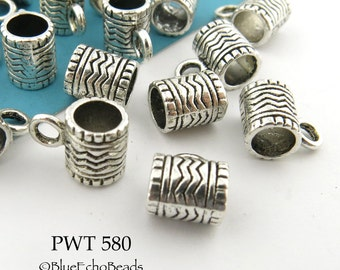 9mm Pewter Slider Charm Bail with Zig Zag Pattern Antique Silver (PWT 580) 12 pcs BlueEchoBeads