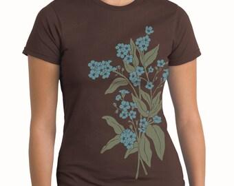 Forget Me Nots T-shirt, Womens Plus Size,  short sleeve Plus size flower print tee, Artsy T-shirt