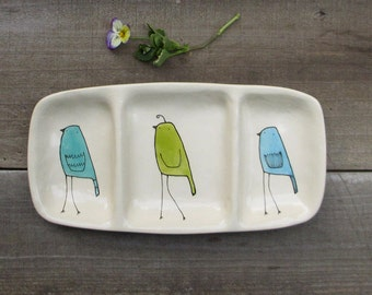White ceramic bird dish, tray with blue and green birds, home decor