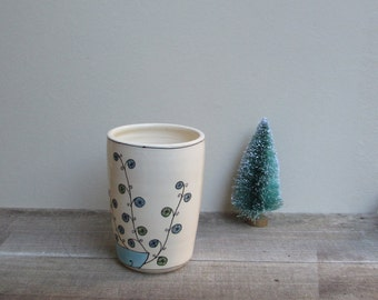 Ceramic blue peacock cup , whimsical unisex bird vase, gift under 30