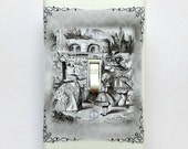 Black & white Alice in Wonderland wall plates w/ MATCHING SCREWS- Cheshire cat Alice switchplate covers Alice Wonderland book text wall art