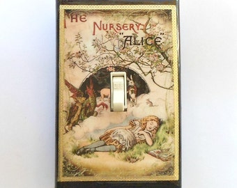 Selection of Nursery Alice switch plate covers w/ MATCHING SCREWS- Wonderland Nursery Tenniel Alice in Wonderland nursery Alice wall plates