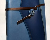 Large Deep Blue Leather Journal with Lined Paper
