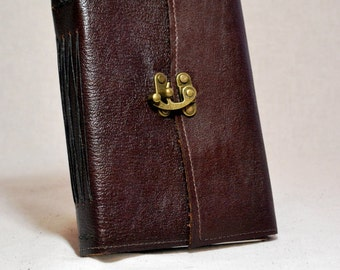 Medium Dark Brown Leather Journal with Recycled Paper