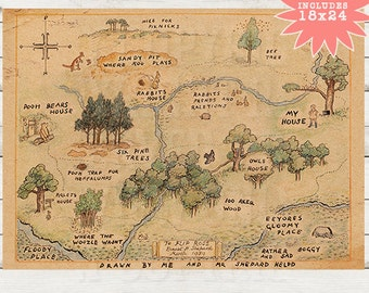 Winnie the Pooh Printable. 100 acre wood Map, Vintage Childrens Printable, Printable, Disney Kids Art, Disney Illustration,Kids Room Decor