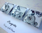 Square Glass Magnet set - Bicycle collection, Black and White