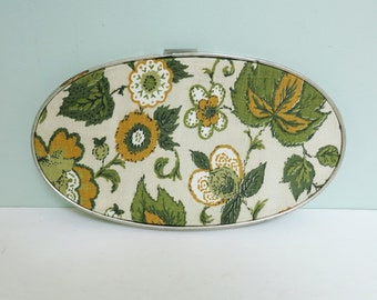 1970s Floral Fabric Small Oval Swatch Portrait Embroidery Hoop Art in Olive Green, Mustard Yellow, White and Beige