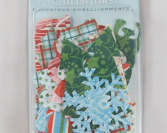 DCWV Christmas Cardstock Embellishments Sayings and Icons with Glitter - SC006