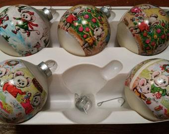 Set of 5 Corning Christmas Ornaments