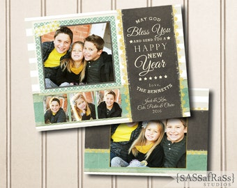 Happy New Year--New Year's Template for Adobe Photoshop, Photographer Template, Instant Download, DIY, Commercial Use