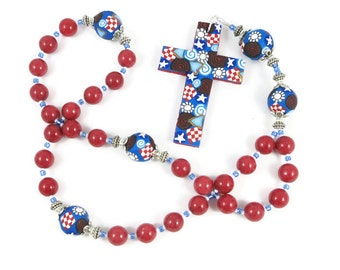Red Dolomite Anglican Rosary Prayer Beads Episcopal Polymer Clay Canework Protestant Handmade Cross and Focals Spirituality & Religion