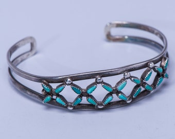 Zuni Unique Turquoise Sterling Bracelet - 70s Petitpoint Lacework