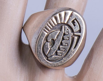 Navajo 14k Signet Ring -  Men's Bear Sterling Overlay - sz 11
