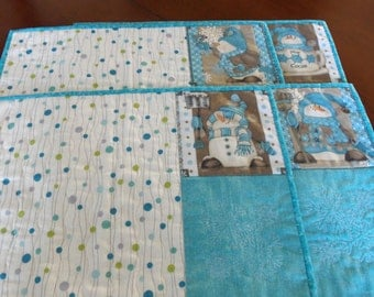 Quilted Teal Snowman Placemats Set of 4