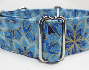 Blue Floral  Greyhound, PitBull, Great Dane, Saluki, Borzoi, Galga Martingale Collar
