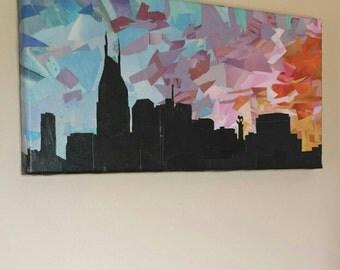 Nashville sunset- original recycled piece