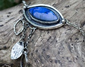 Labradorite statement necklace in rustic sterling silver  - All Seeing -