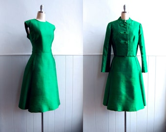1960s Kelly Green Raw Silk Dress and Jacket // A Line // Medium