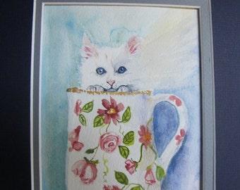 Handpainted Cat Original Watercolor Gift