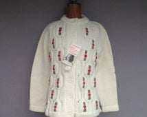 GBYE SUMMER SALE Vintage Donnkenny Knit Cardigan Button Down Sweater Flowers Deadstock Nos S/M