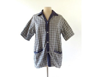 Vintage 1960s Shirt / 60s Beach Shirt / Blue Plaid Shirt Jacket / Medium M